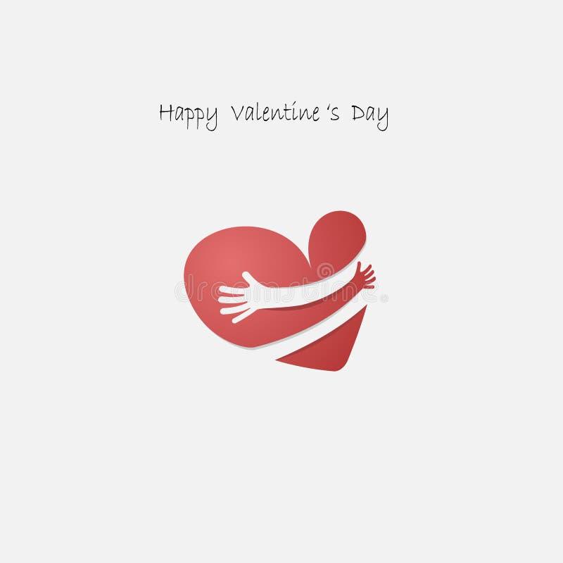 Röd hjärtashapr med handomfamning Logo för kram själv Förälskelseyoursel stock illustrationer