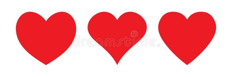 Röd hjärtasymbol, förälskelsesymbol vektor illustrationer