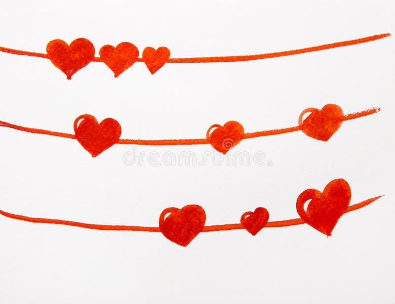 Röd hjärtavattenfärg stock illustrationer