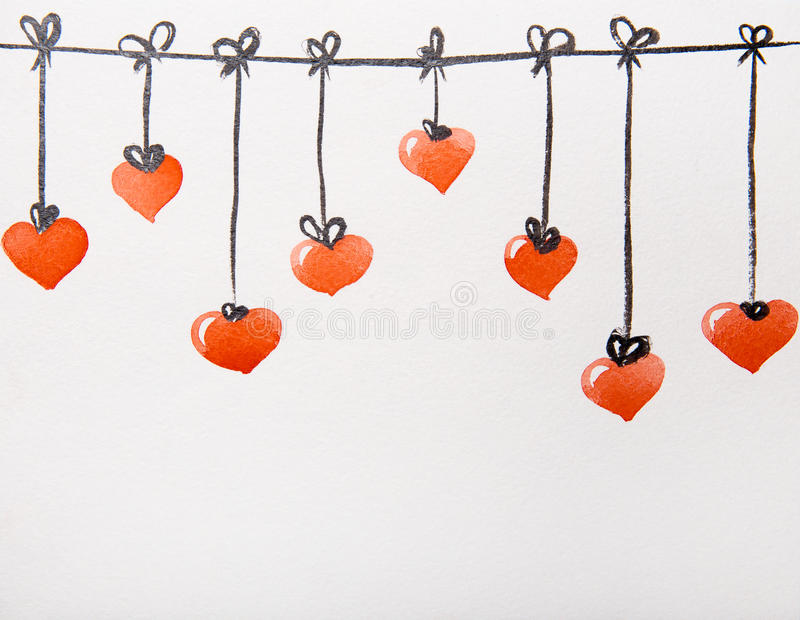 Röd hjärtavattenfärg royaltyfri illustrationer