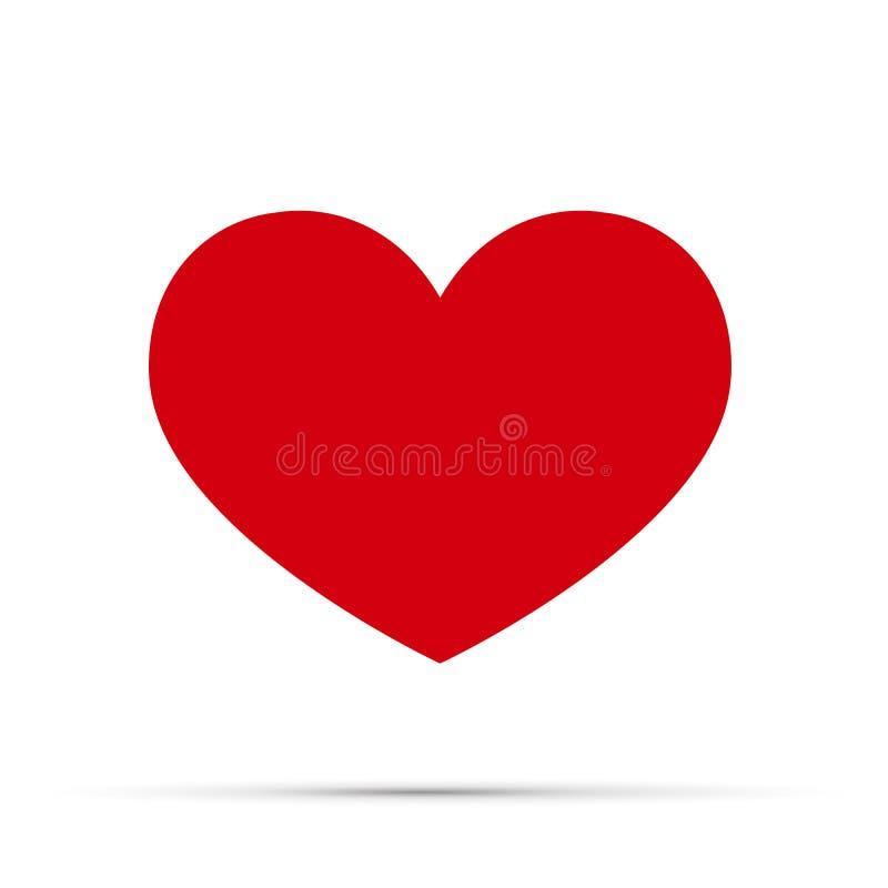 Röd hjärtavektorsymbol, förälskelsesymbol Ett symbol av omsorg och mjukhet Dagtecken för valentin s, emblem som isoleras på vit royaltyfri illustrationer