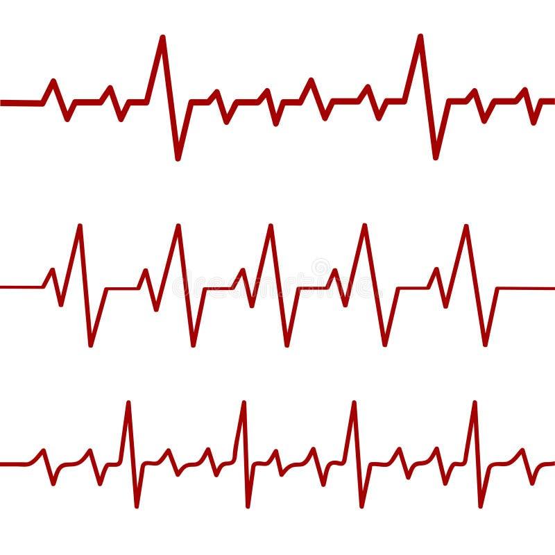 Röd hjärtslaglinje, ekg, cardio linje, materielvektorillustration vektor illustrationer