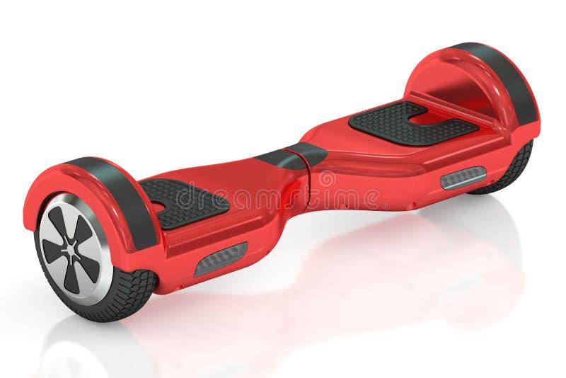 Röd hoverboard- eller själv-balansera sparkcykel, tolkning 3D vektor illustrationer