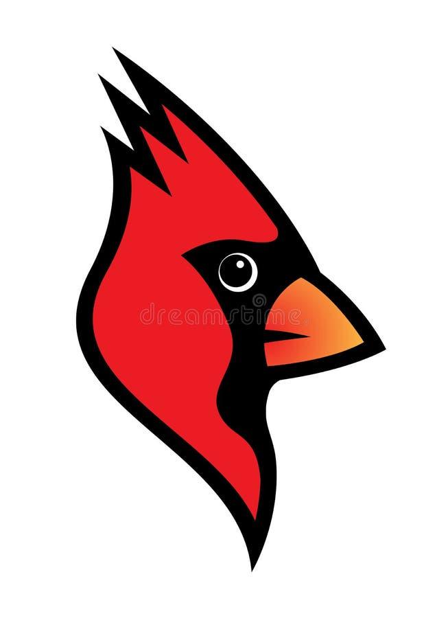 Röd huvudsaklig illustration för fågellogovektor som isoleras på vit vektor illustrationer