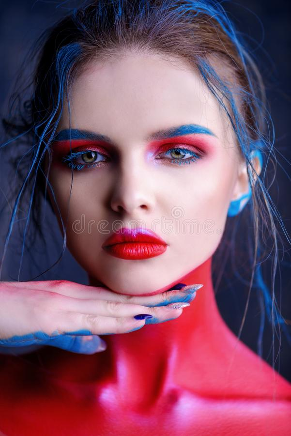 Röd idérik makeup royaltyfri foto