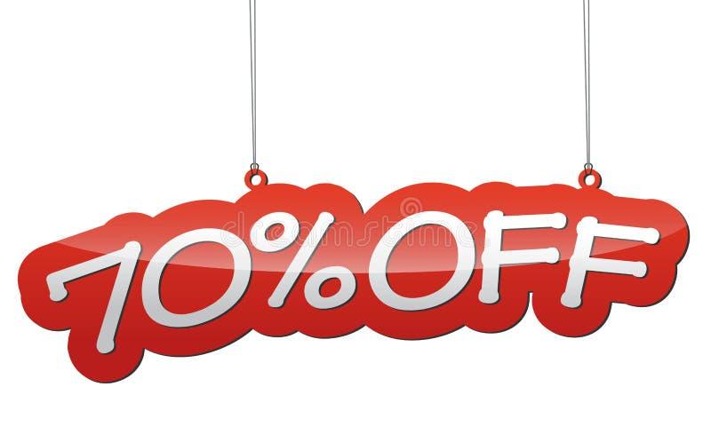 Röd illustration - bakgrundsetikett sjuttio procent rabatt royaltyfri illustrationer