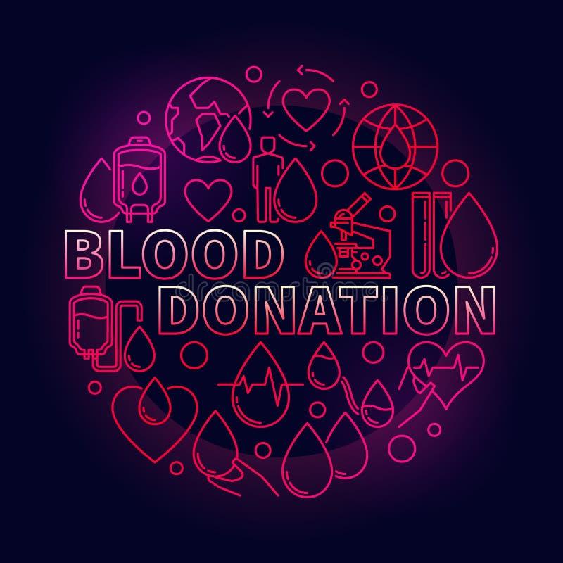 Röd illustration för bloddonation royaltyfri illustrationer