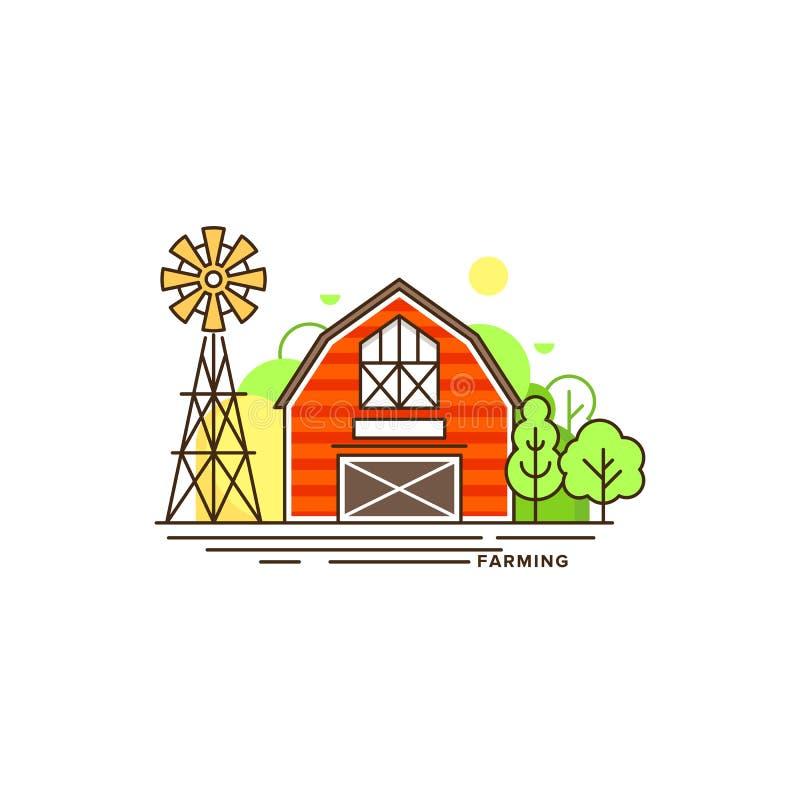 Röd illustration för lägenhet för vektor för lantgårdbyggnad som isoleras på vit bakgrund Eco lantbruksymbol, plant vektorbegrepp vektor illustrationer