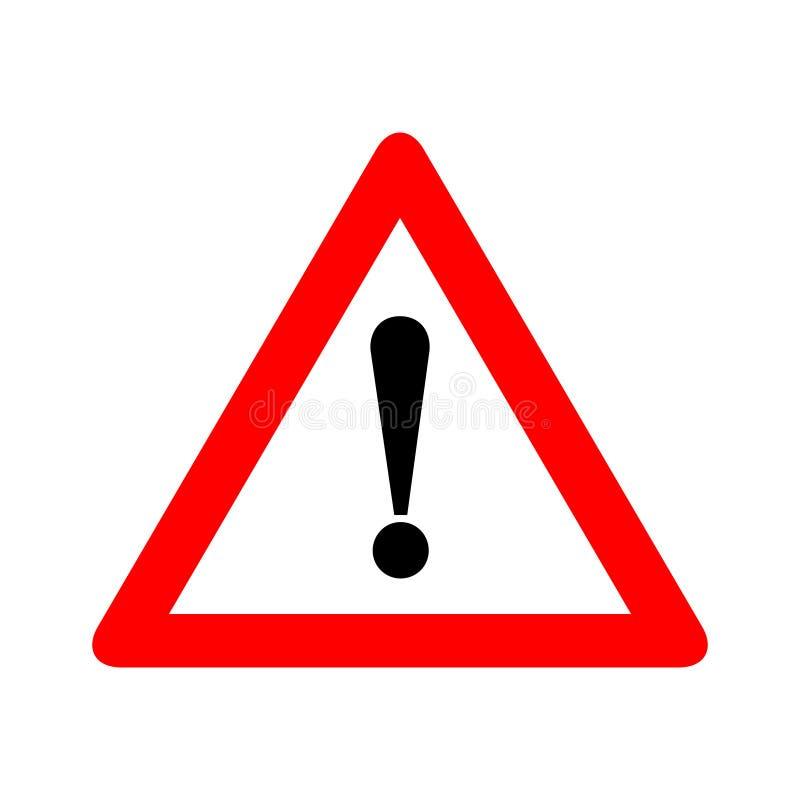 Röd illustration för vektor för tecken för varning för triangelvarningsvarning som isoleras på vit bakgrund Var försiktig, gör in royaltyfri illustrationer