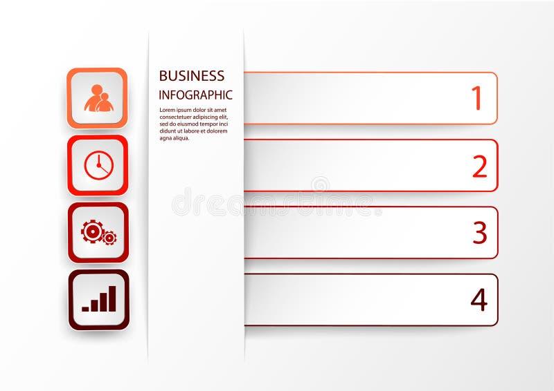 Röd Infographic mall med 4 alternativ, moment eller processar Vektororientering för affärsinfographics med marknadsföringssymbole stock illustrationer