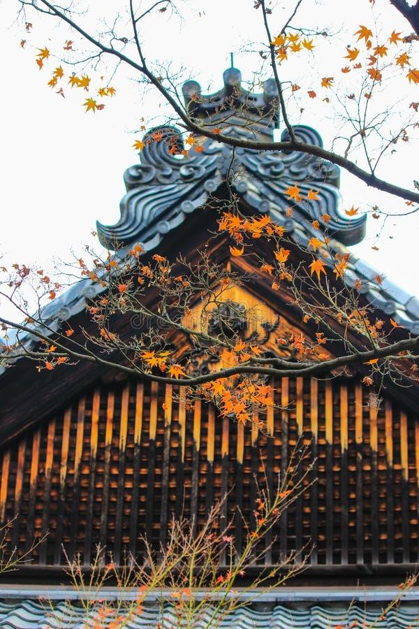 Röd inre Kotoin för blad och för tak tempel, Kyoto arkivbild