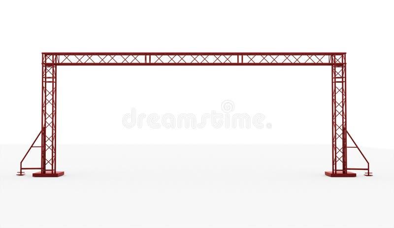 Röd isolerad etappkonstruktion som framförs royaltyfri illustrationer