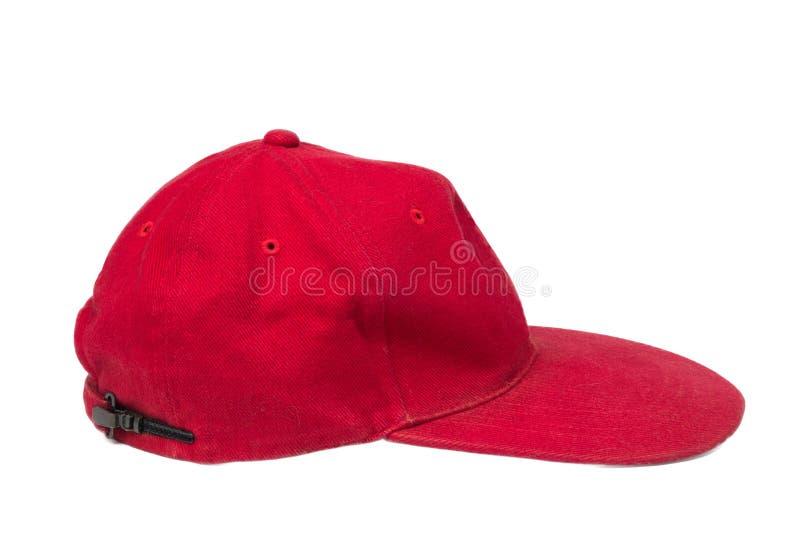 Röd isolerad hatt royaltyfria foton