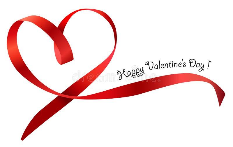 Röd isolerad hjärtabandpilbåge. Vektor stock illustrationer