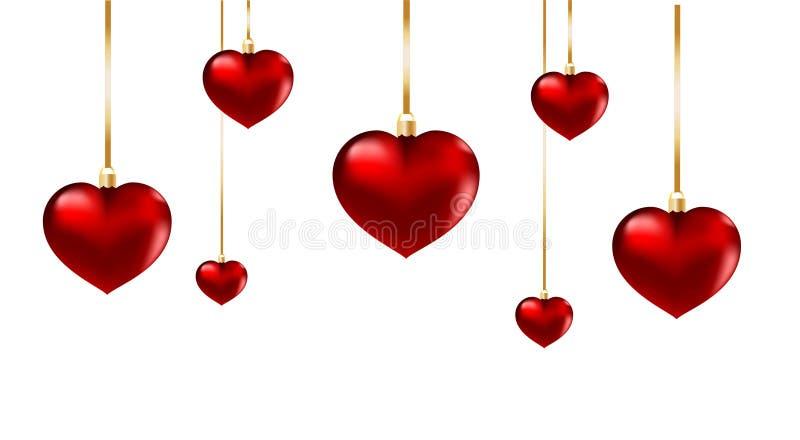 Röd isolerad hjärtaprydnad stock illustrationer
