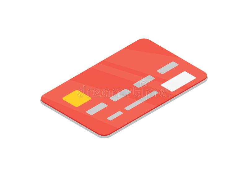 Röd isolerad isometrisk symbol 3D för bank kreditkort royaltyfri illustrationer
