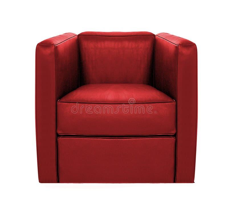 Röd isolerad läderfåtölj arkivfoto