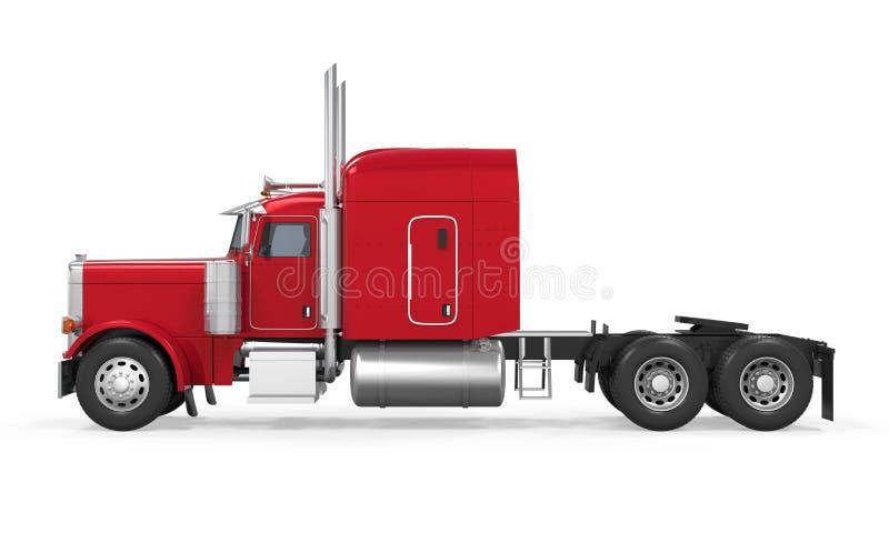 Röd isolerad släplastbil stock illustrationer