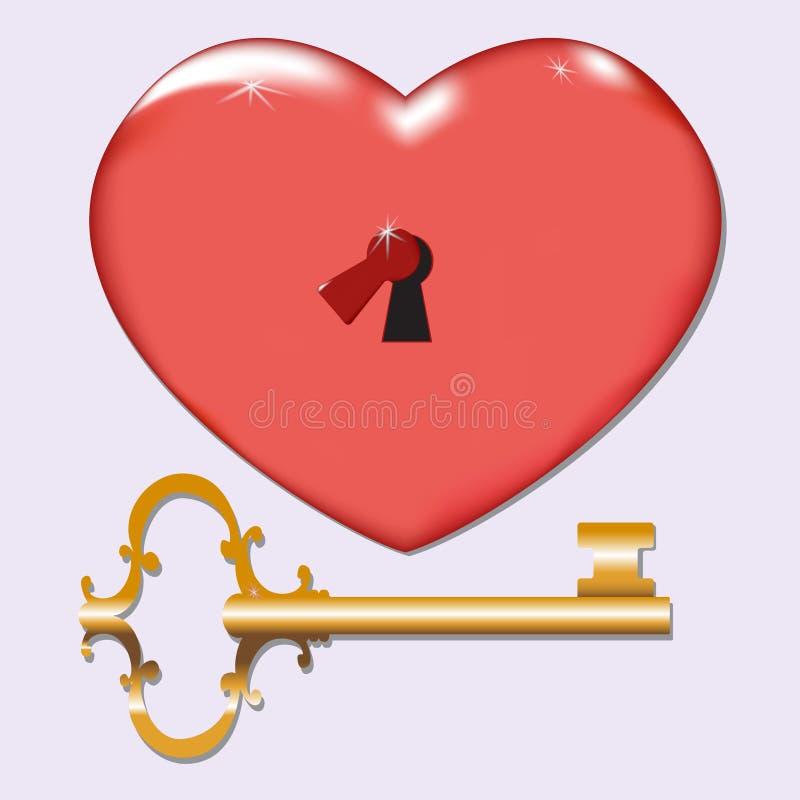 Röd isolerade hjärtaingreppsvektor med nyckel- hål och tangent för valentindag i vit bakgrund vektor illustrationer