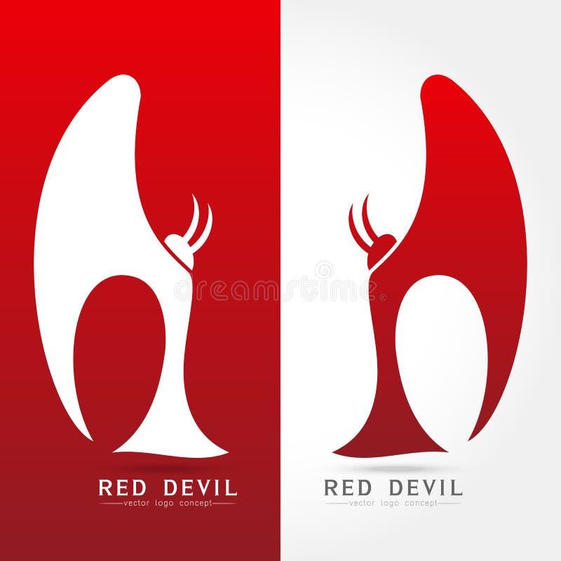Röd jäkel - illustration för vektorlogobegrepp stock illustrationer