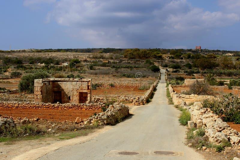 Röd jord på Malta arkivfoton