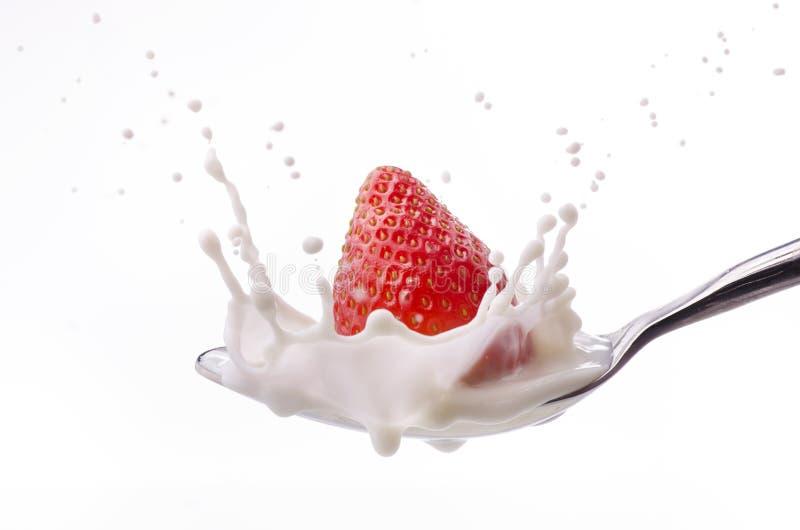 Röd jordgubbe med yoghurt royaltyfria foton