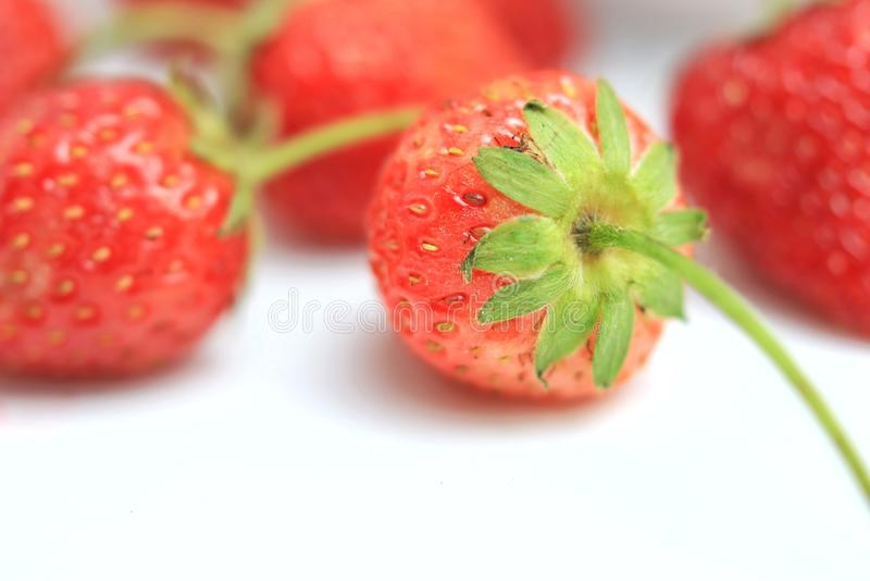 Röd jordgubbe på vit bakgrund royaltyfri bild