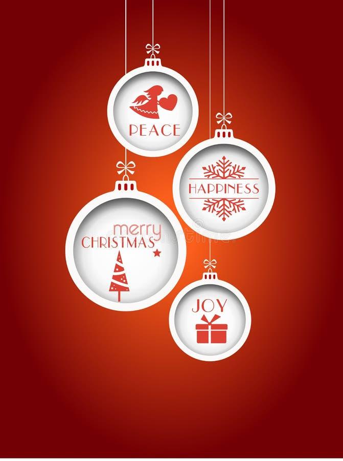 Röd julbakgrund med hängande struntsaker royaltyfri foto