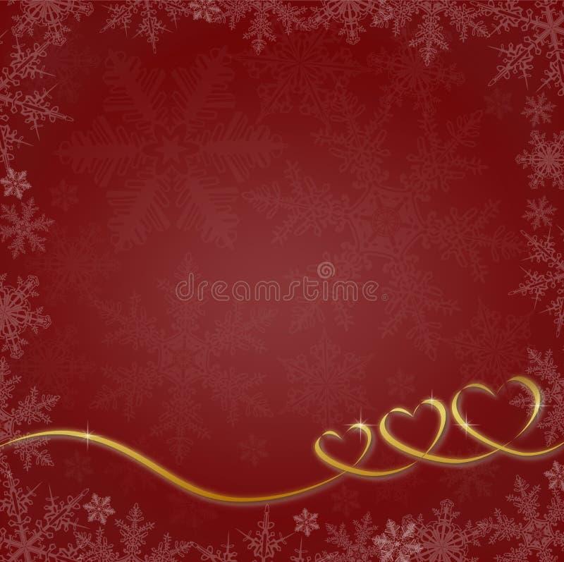 Röd julbakgrund med hjärtor och snöflingor royaltyfria bilder