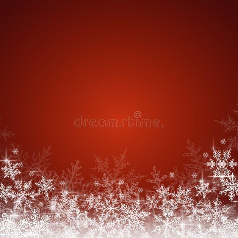 Röd julbakgrund med snöflingor arkivfoton
