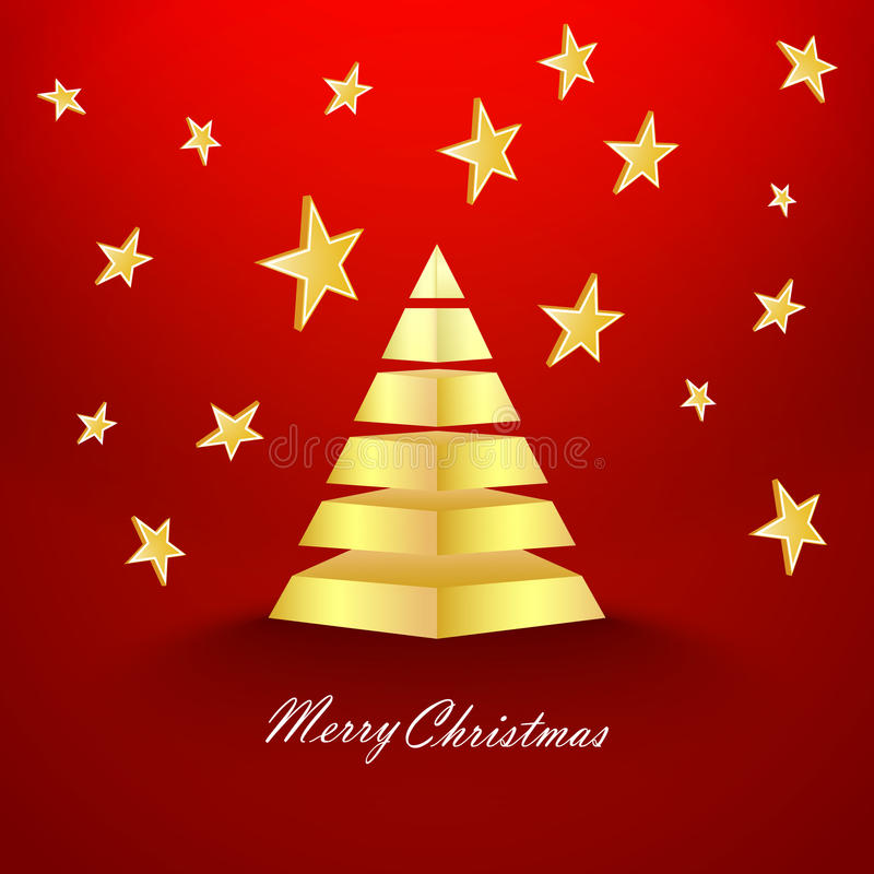 Röd julbakgrund med stjärnor och den guld- pyramiden royaltyfri illustrationer