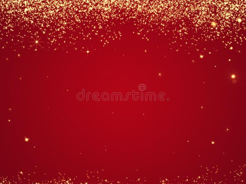 Röd julbakgrundstextur med stjärnor som faller från över stock illustrationer
