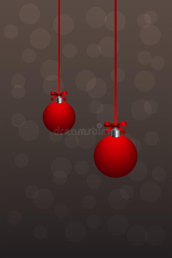 Röd julboll på bokehbakgrund royaltyfri illustrationer