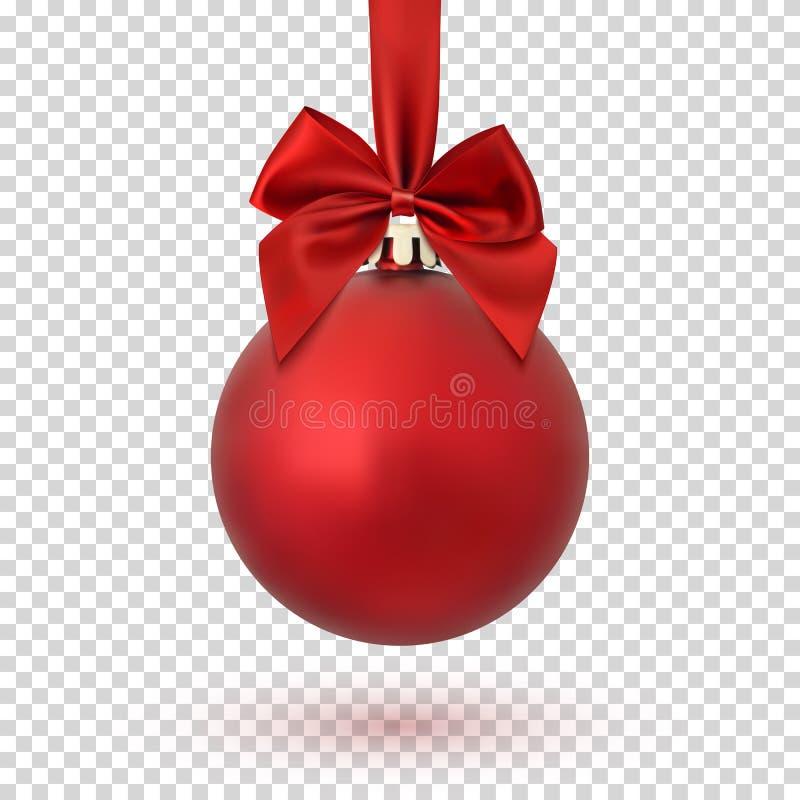 Röd julboll på genomskinlig bakgrund royaltyfri illustrationer