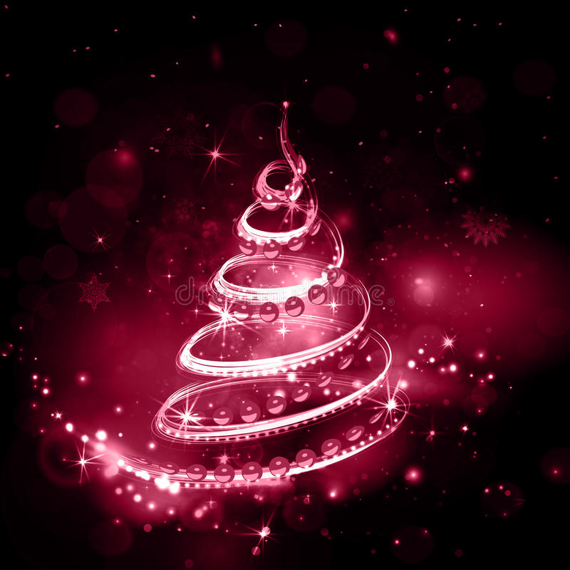 Röd julgran på nattferiebakgrund med bränning royaltyfri illustrationer