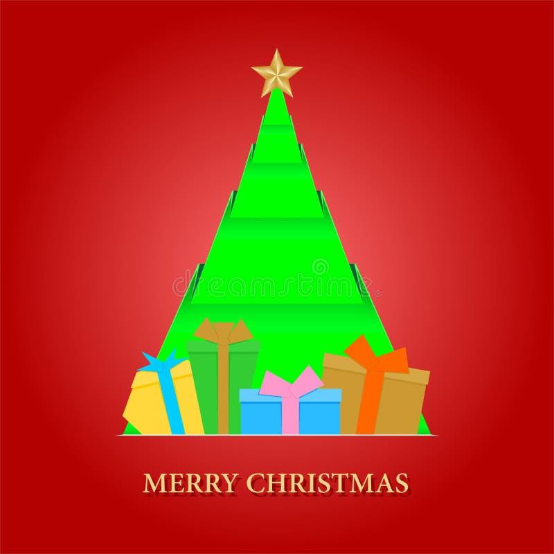 Röd julkort med en vikt dokument med olika förslagjulgran med stjärnor och kulöra gåvor med band- och guldinskriften glad Ch royaltyfri illustrationer