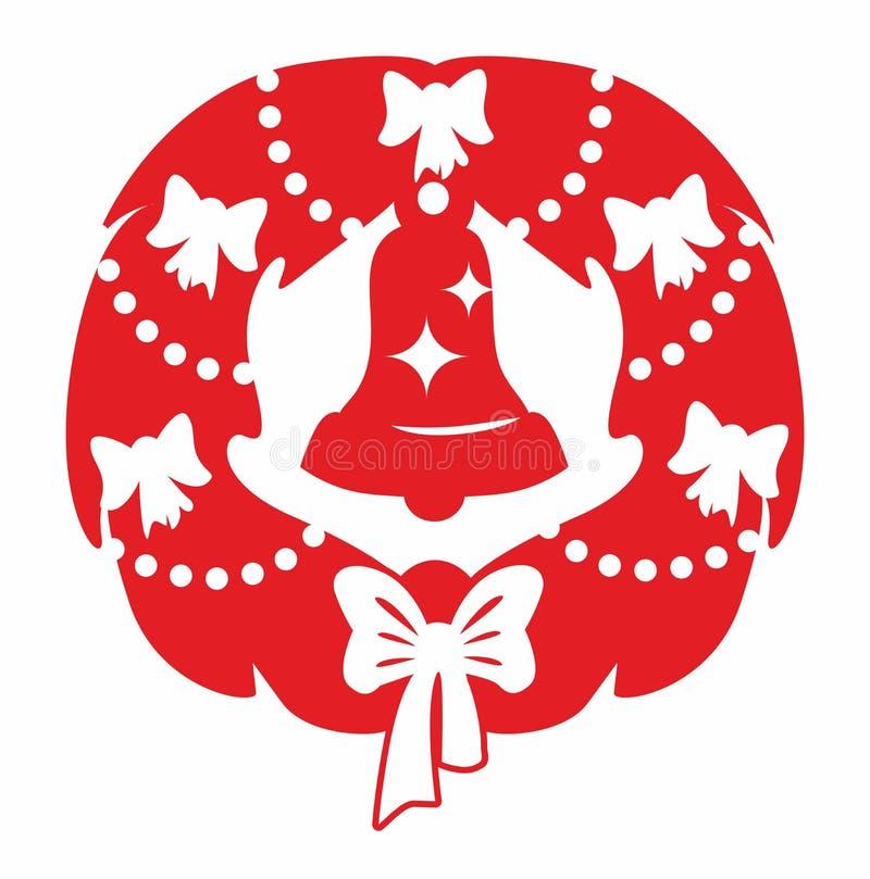 Röd julkrans och klocka royaltyfri foto
