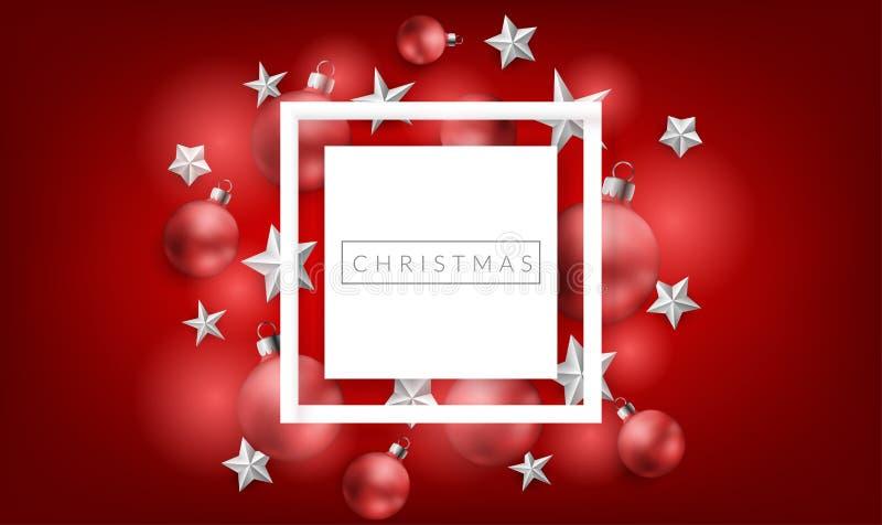Röd julram med bollar och stjärnor vektor illustrationer