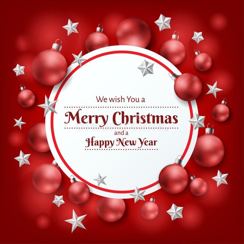 Röd julram med den julbollen och stjärnan vektor illustrationer