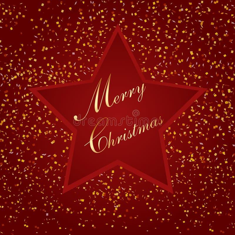 Röd julstjärna, med litet papper, illustration vektor illustrationer
