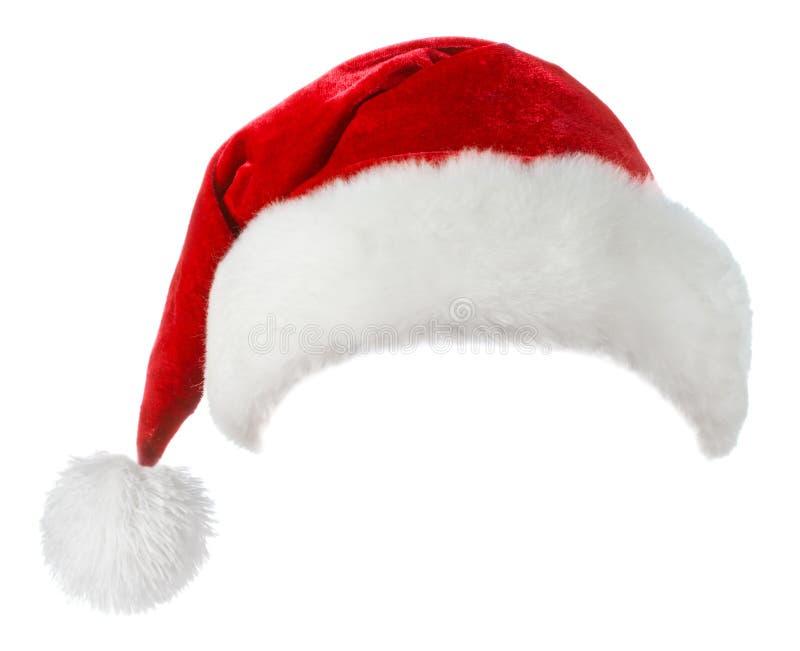 Röd jultomten och vit hatt royaltyfri fotografi