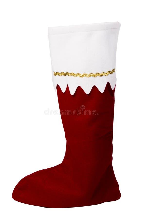 Röd jultomtenkänga royaltyfria foton