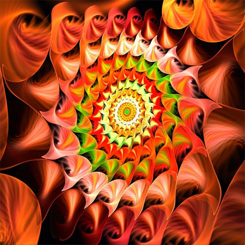Röd kaktus för abstrakt stjärna för fractalkonstjul royaltyfri illustrationer