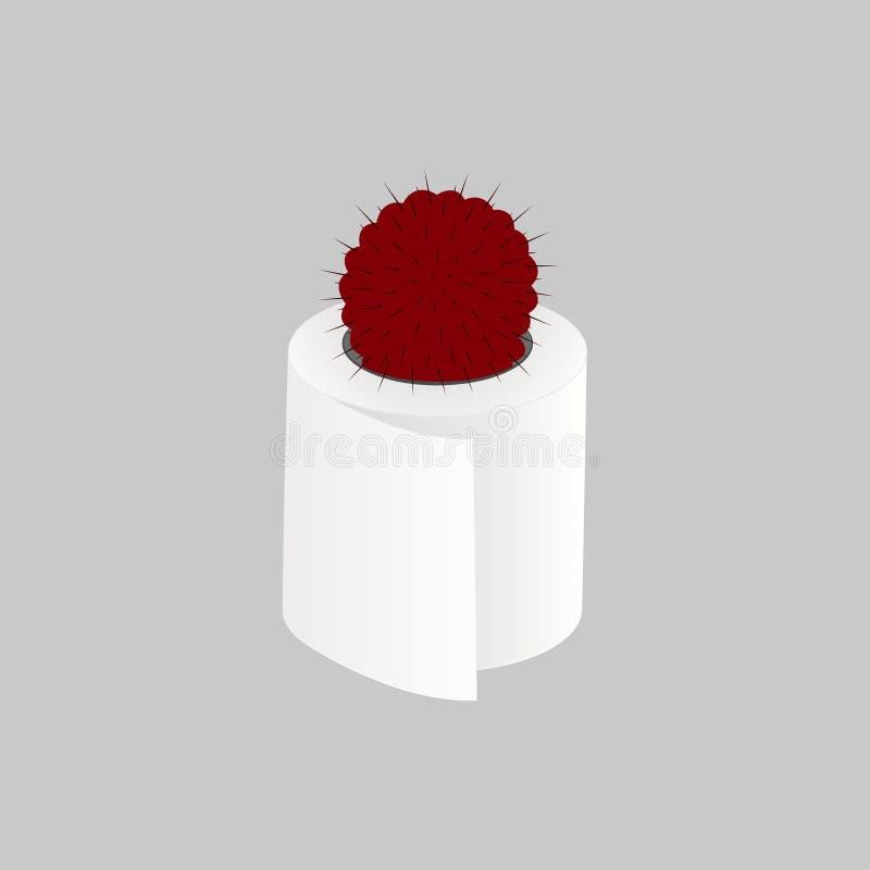 Röd kaktus i toalettpapper på en grå bakgrund stock illustrationer