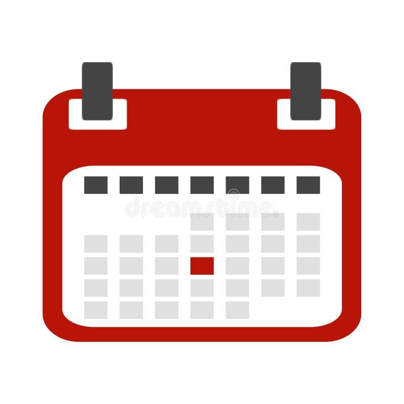 Röd kalendersymbol royaltyfri illustrationer