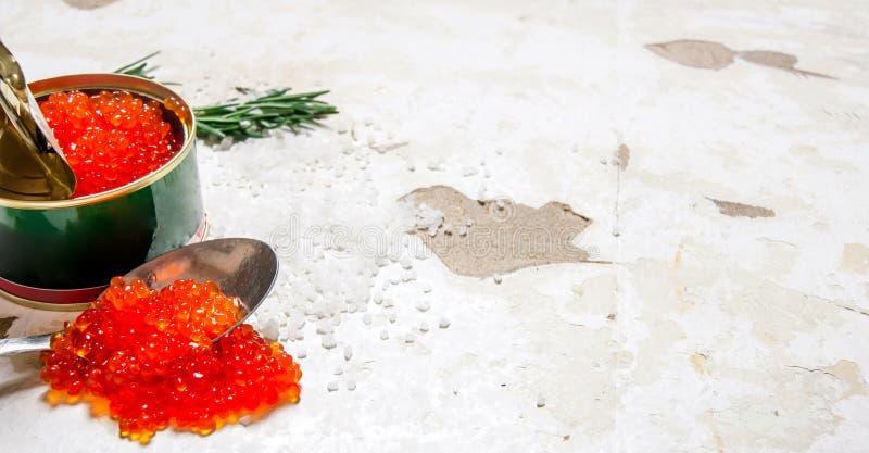 Röd kaviar i en krus med en sked royaltyfria foton