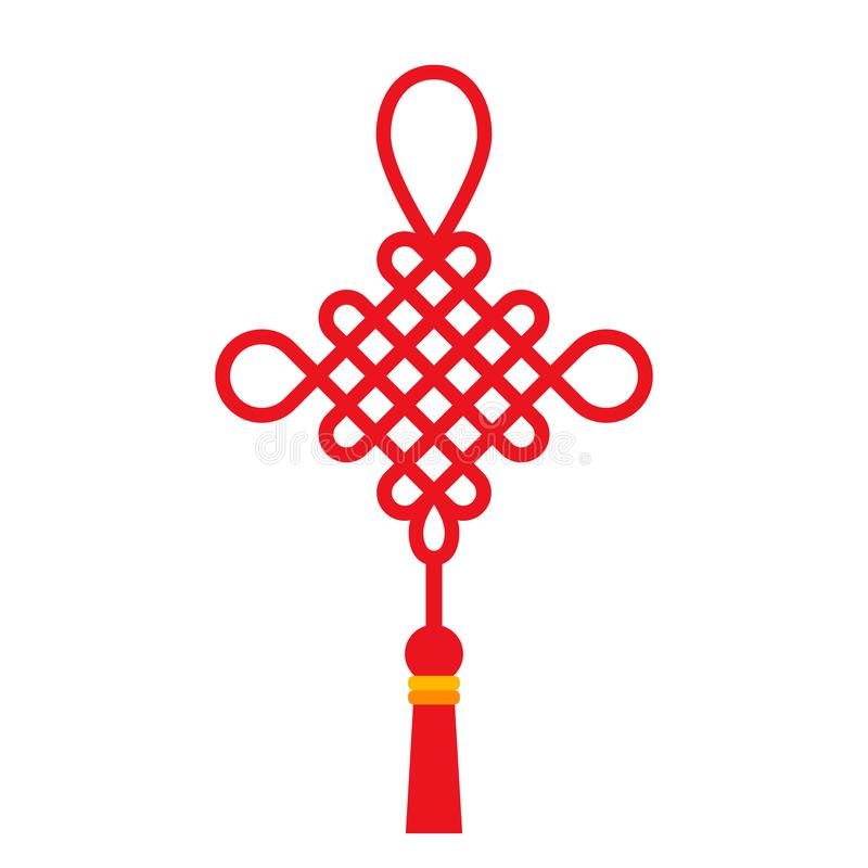 Röd kinesisk fnuren med tofsen Det traditionella symbolet av det mån- kinesiska nya året med önska för bra lycka Plan vektor royaltyfri illustrationer