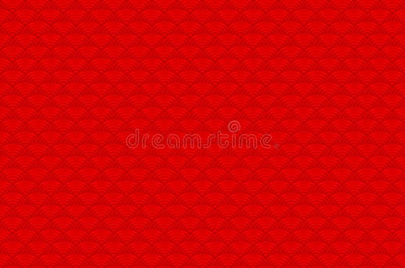 Röd kinesisk sömlös bakgrund för natur för modell för våg för modelldrakefisk enkel sömlös med den japanska vektorn för vågcirkel vektor illustrationer
