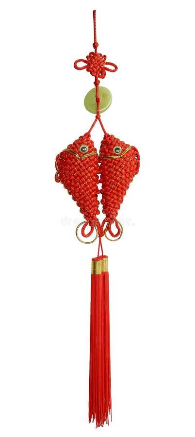 Röd kinesisk siden- fnuren royaltyfria foton