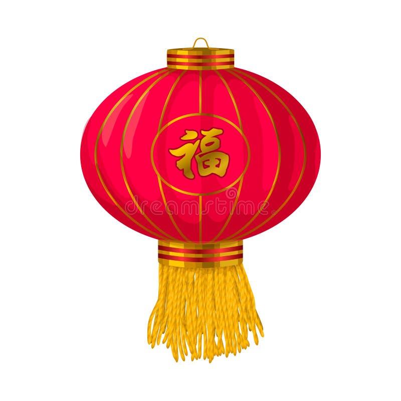 Röd kinesisk symbol för pappers- lykta i tecknad filmstil royaltyfri illustrationer